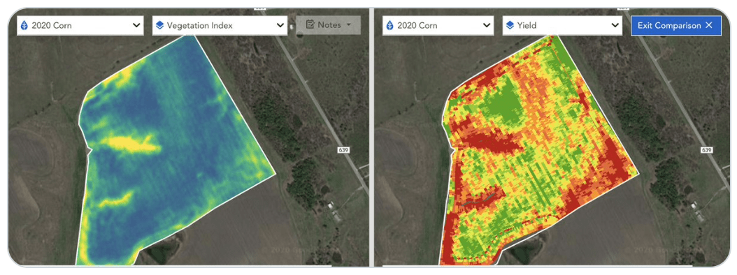 Granular Satellite maps showing yield for row crops